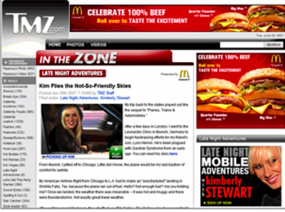 McDonalds ad on TMZ on the right side and top
