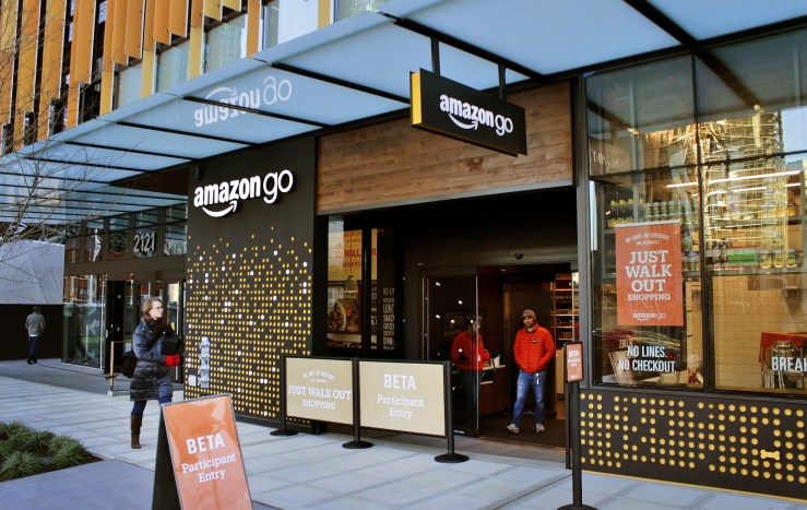"Figure 1. The prototype Amazon Go store at Day One, Seattle, Washington. From ""Amazon Go in Seattle"" by SounderBruce, 2016, https://en.wikipedia.org/wiki/File:Amazon_Go_in_Seattle,_December_2016.jpg. Copyright 2016 by SounderBruce."