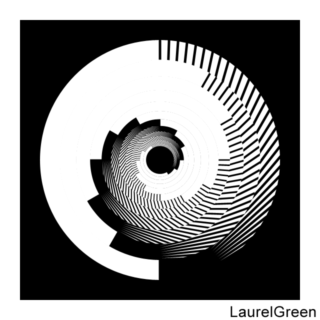 a black and white circle with lines removed from it and layers rotated by multiples of 30 degrees