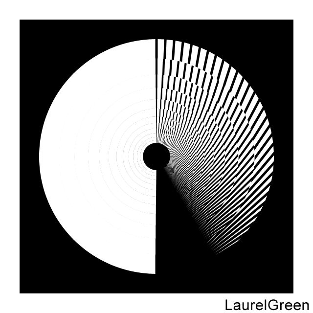 a black and white circle with lines removed from it
