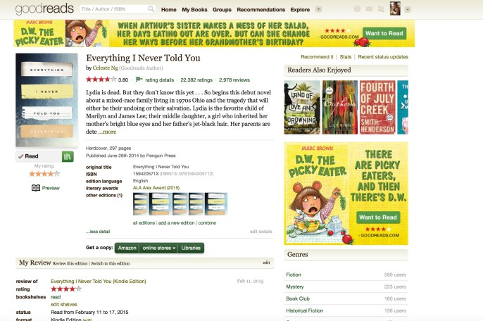 Goodreads in my email box