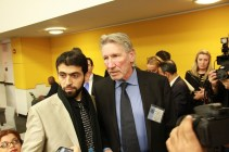Roger Waters of Pink Floyd visits the United Nations to speak out on the rights of the Palestinian people. November 2012.