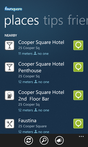 Foursquare App For Windows 7 Phone Mobile Device