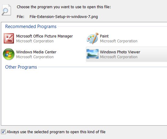 Windows - Choose Default Program