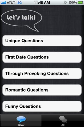 Conversation Starter iPhone App UI