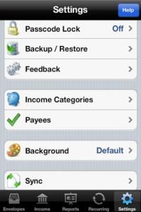 Settings Budget Envelopes iPhone App