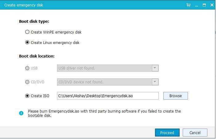 emergency disk