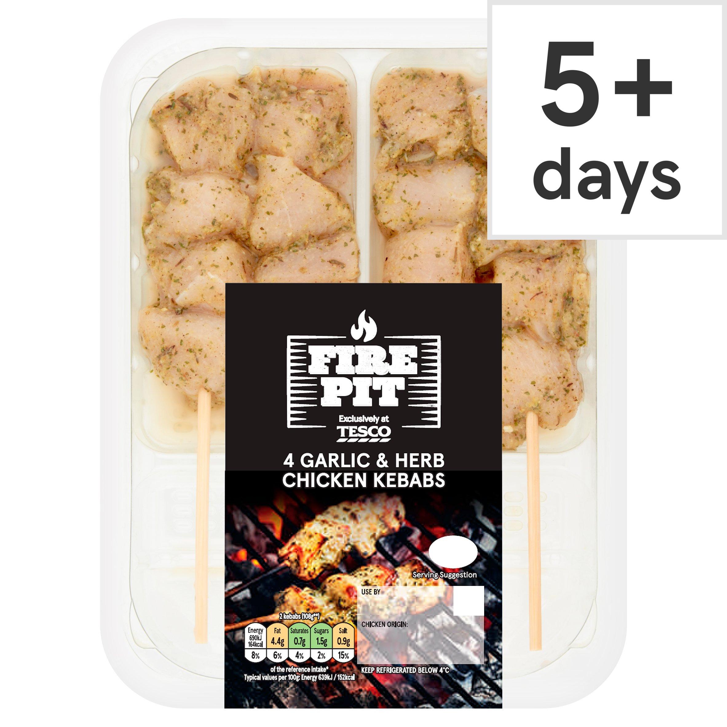 Tesco Fire Pit 4 Garlic & Herb Chicken Kebabs 260G