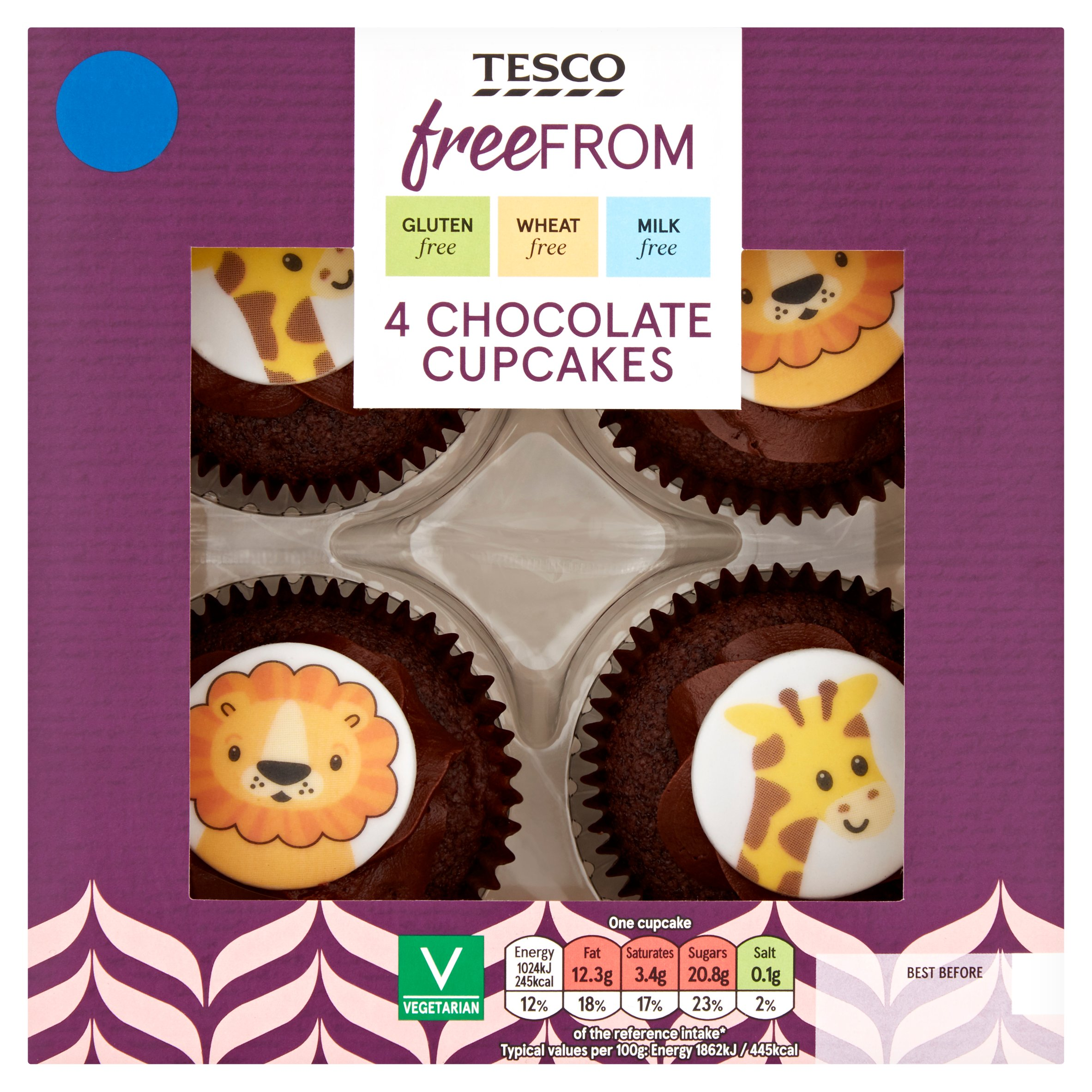 Tesco Free From 4 Chocolate Cupcakes