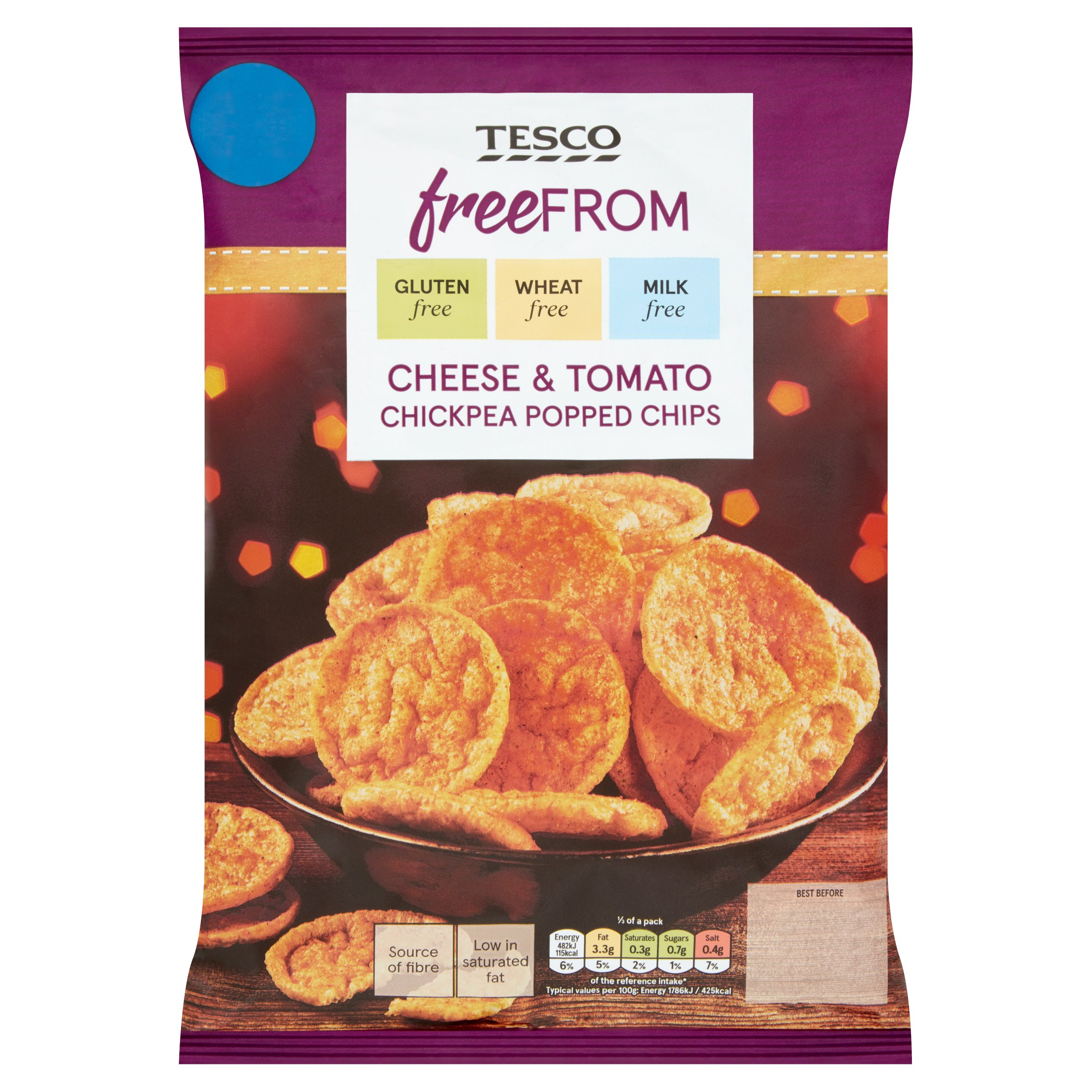Tesco Free From Cheese & Tomato Pop Chips 80G