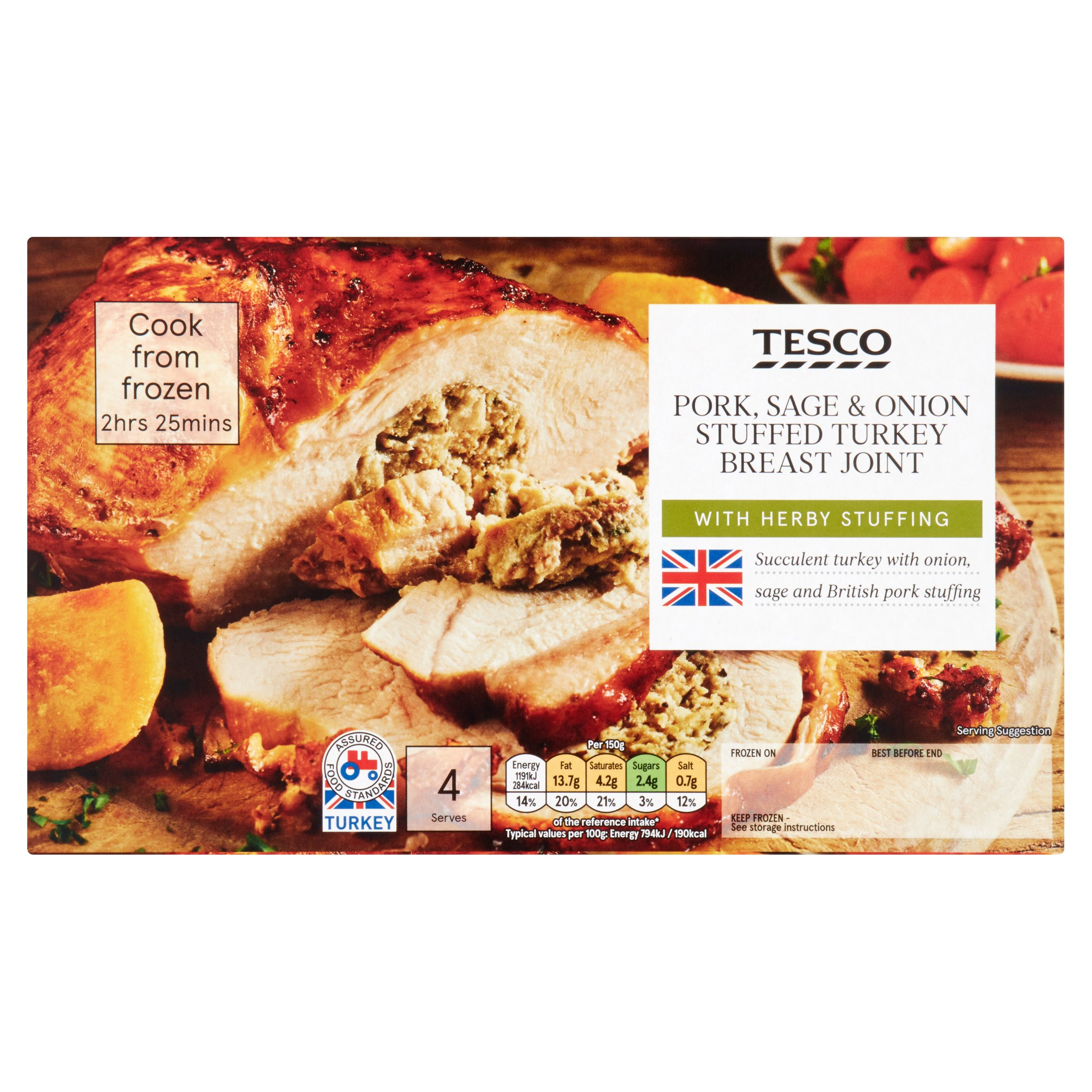 Tesco Pork, Sage and Onion Stuffed and Basted Frozen Turkey Breast Joint 780G