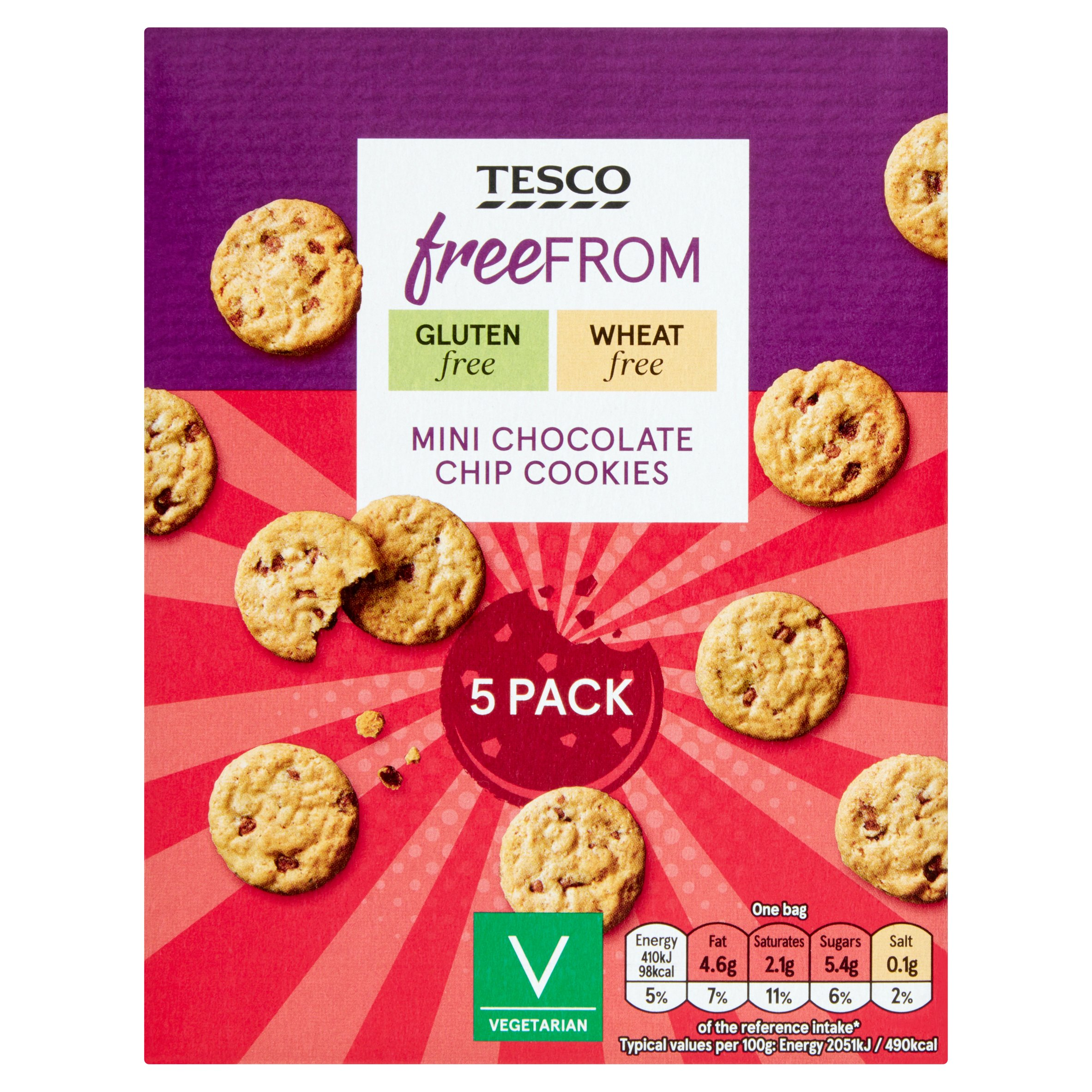 Tesco Free From Mini Chocolate Chip Cookies 5 Pack 100G