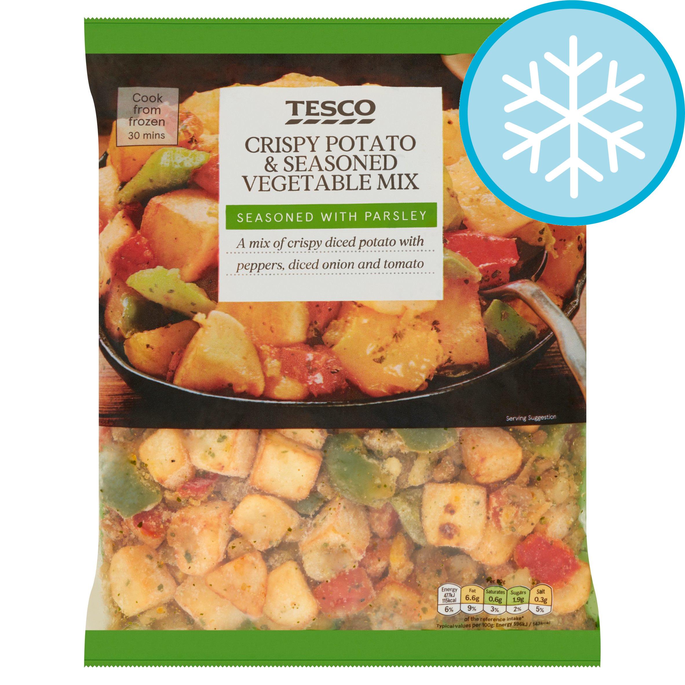 Tesco Crispy Potatoes & Seasoned Vegetable Mix 750G