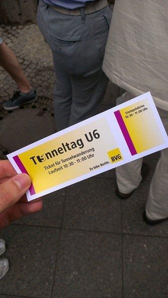 Ticket für die BVG U6 Tunnelwanderung