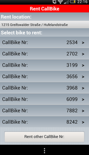 Call A Bike Rental Bike numbers