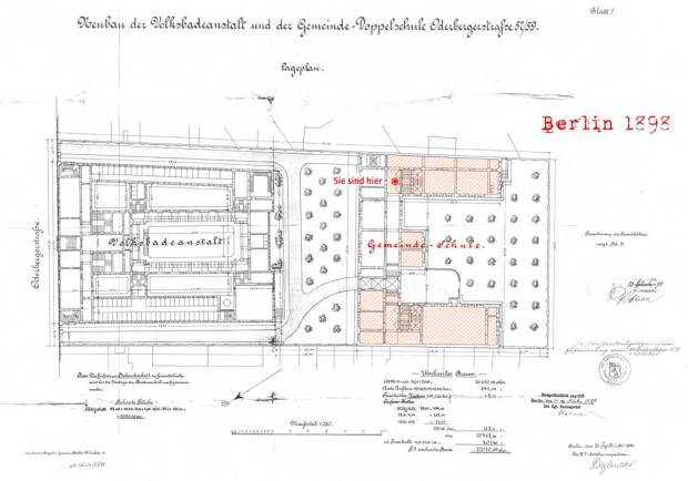 Plan of the Oderberger Stadtbad and the Gemeinde Doppelschule