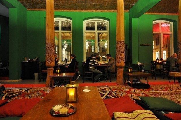 table inside the tadschikische teestube berlin germany