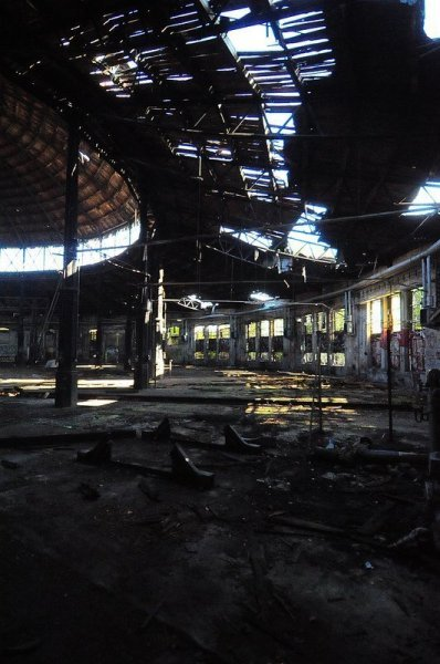 crumbling train roundhouse