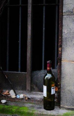 abandoned wine bottle