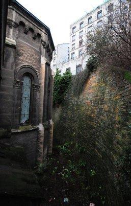 smashed church window