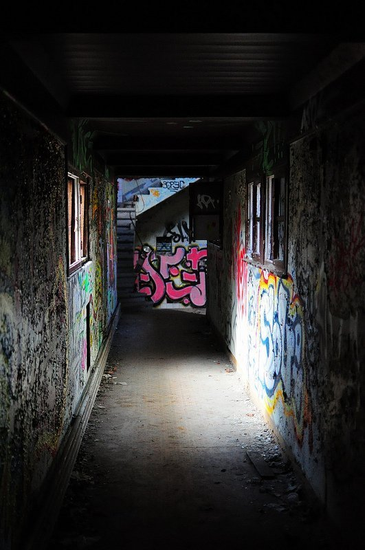 graffiti dark hallway