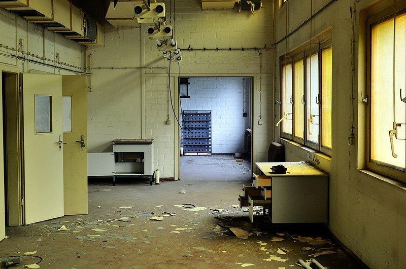abandoned photo lab hallway