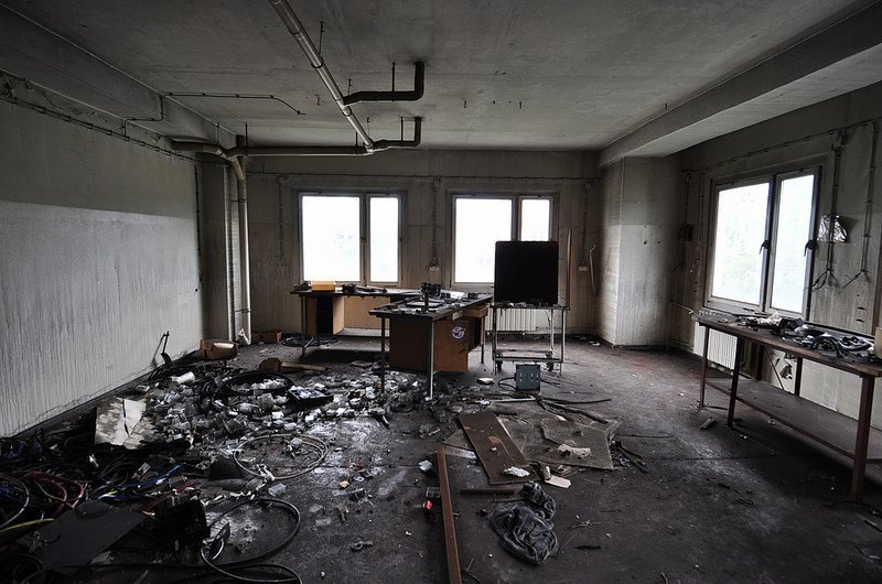abandoned photo workshop room