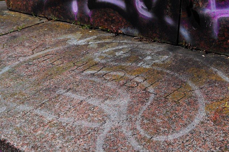 graffiti etching obelisk
