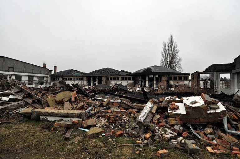 burnt down aircraft hangar karlshorst
