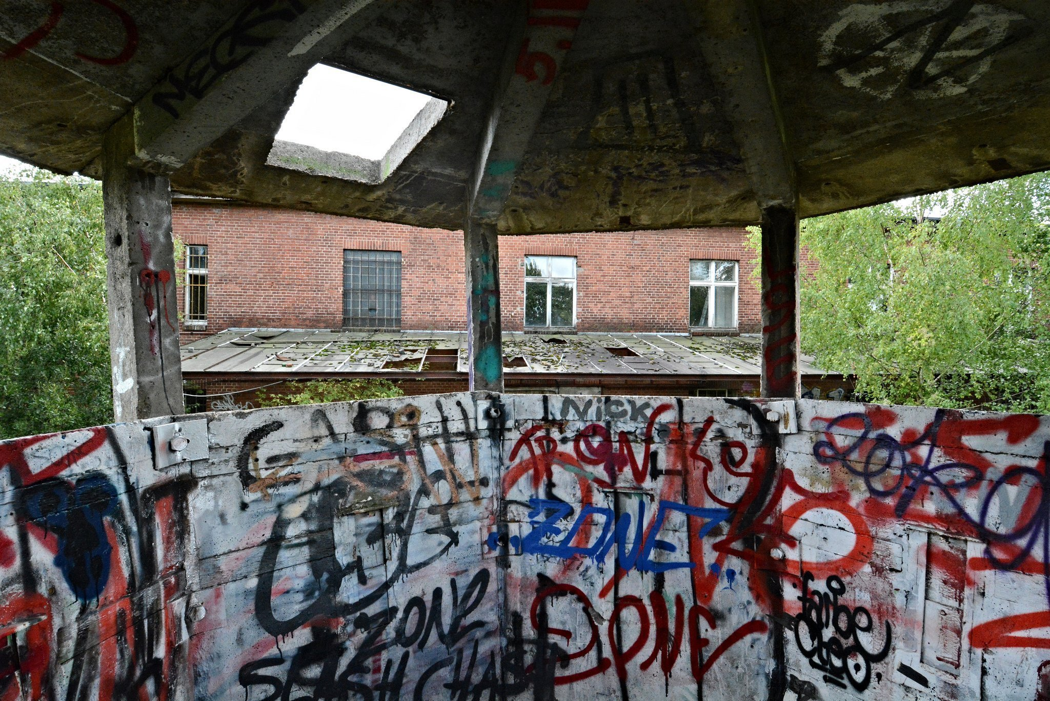 inside abandoned watchtower east berlin