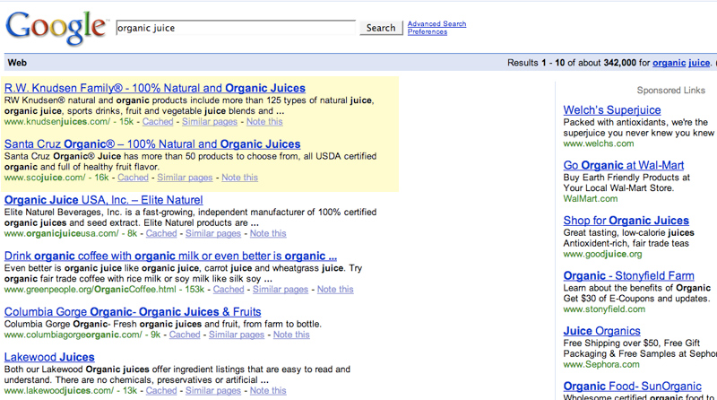 Organic Juice Search Results