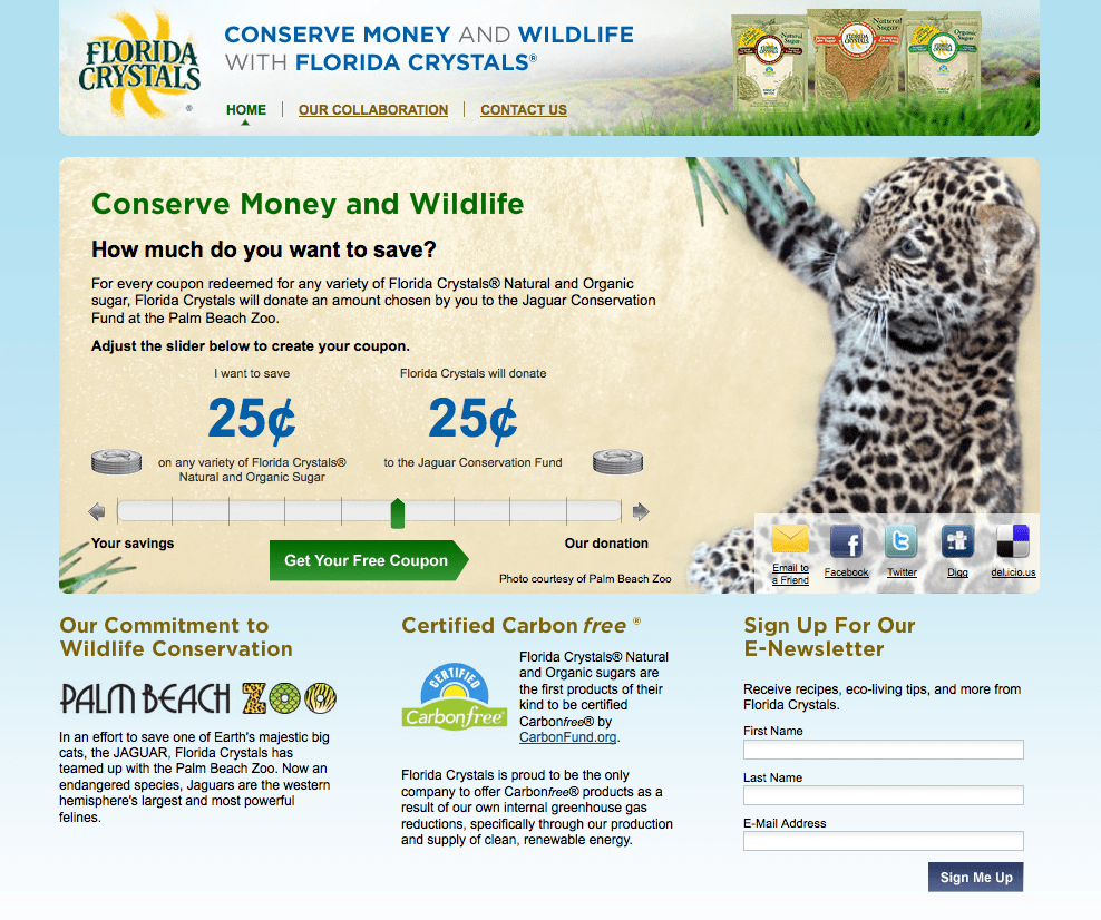 """Designed and developed by DigitalDay, Florida Crystals """"Save and Donate"""" coupon site is unique in the way it delivers online coupons to consumers."""