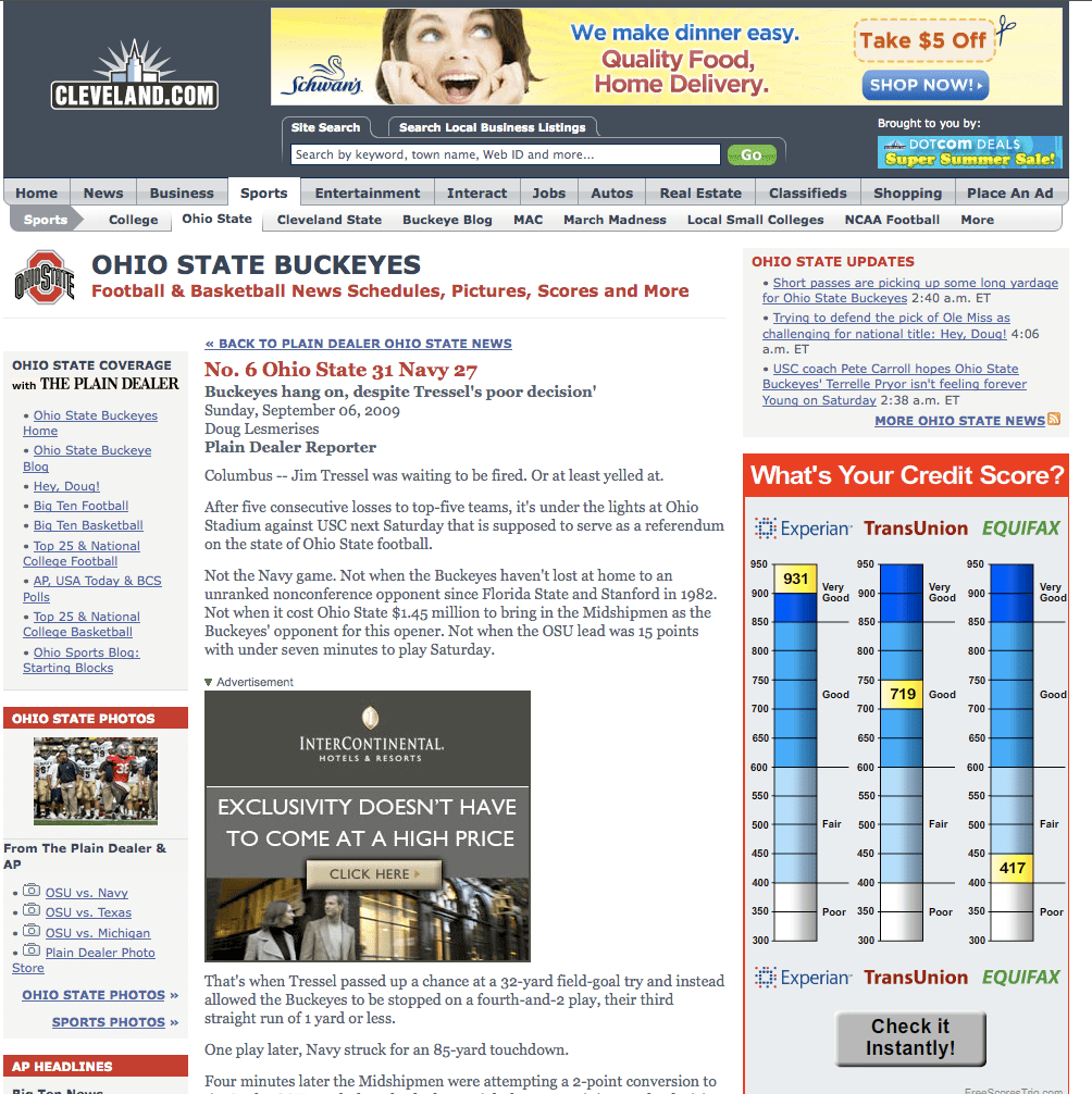 A Schwan's Banner Ad captured recently on Cleveland.com. The ads are running nationally under a large online media buy.