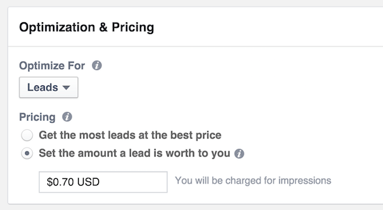 lead ads pricing cost per lead