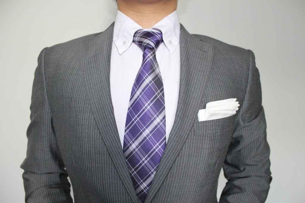 Grey Pinstripe+Purple