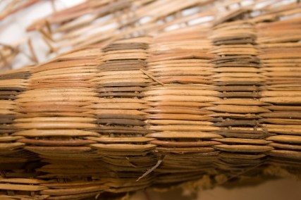 Detail of the fragment of grass matting found inside a rodent's nest during the Restoration Project.