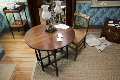 View of the William and Mary style swing gate table with Madison Family history.