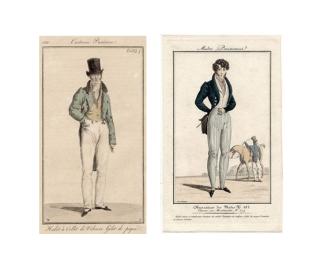 """Fashion plates, """"Costume Parisienne, 1816"""" and """"Modes Parisiennes, 1820."""""""