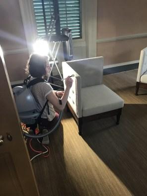 Using a backpack vacuum