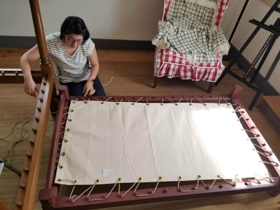 Both the trundle and main bed in the Interactive Room are sack bottom beds. The Collections Team roped both during the installation.