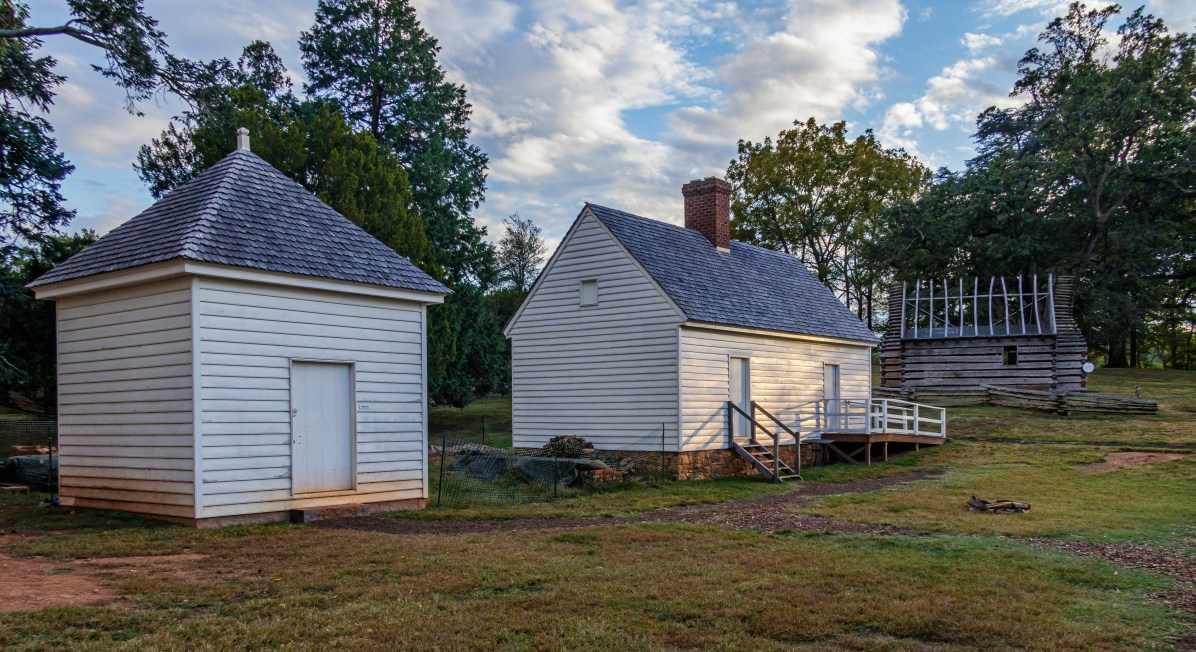 View of the southeast dwelling in the South Yard at Montpelier, center.