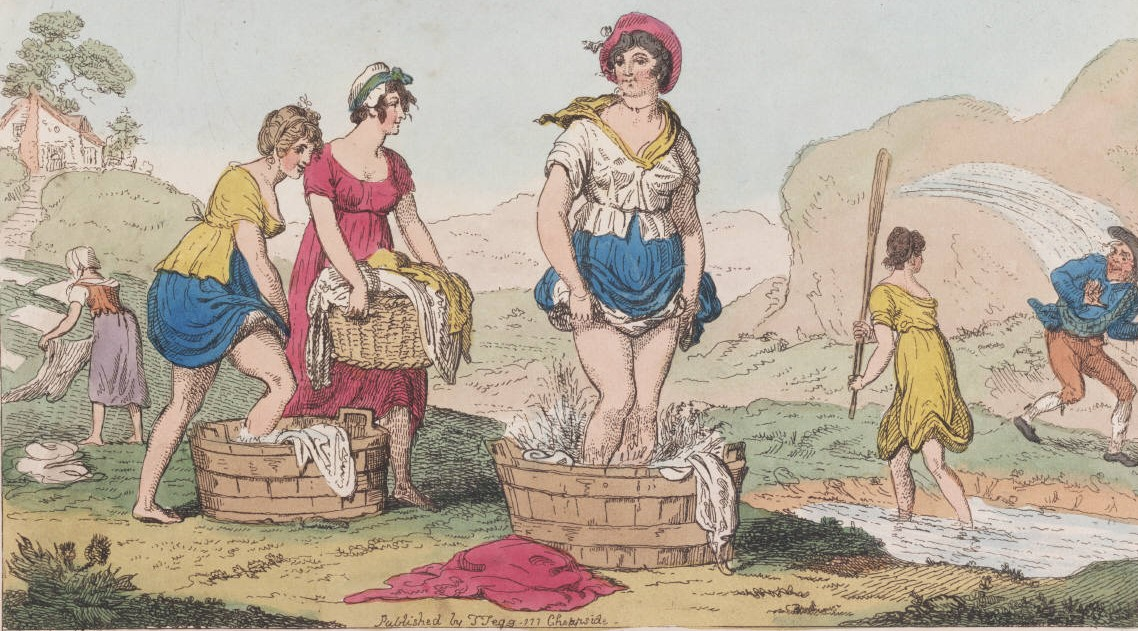"Cruikshank, ""Scotch Washing,"" in G.M. Woodward, The caricature magazine, or Hudibrastic mirror vol. 1, Folio 75 W87 808."