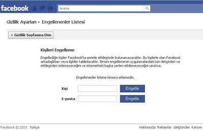 Facebookda arkadaş engellemek