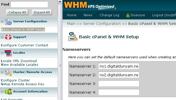 Reseller hosting için Name Server yapılandırma