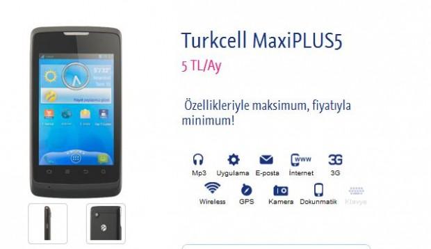 Turkcell MaxiPLUS5 telefonu aylık 5 TL ye