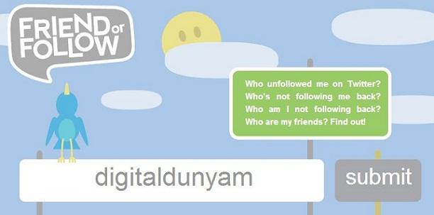 Twitter takip etmeyenleri görme