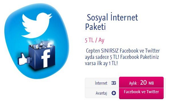 Turkcell de sınırsız Facebook ve Twitter 5 TL