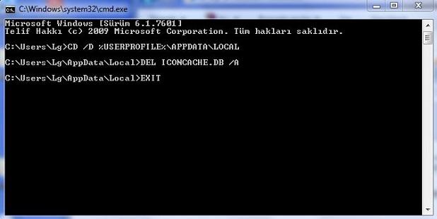 Windows 7 bozulan ikonları düzeltme
