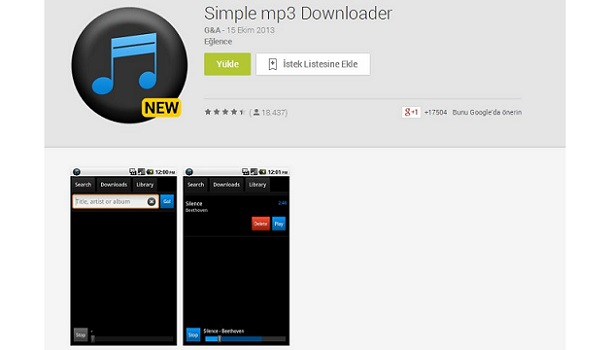 Android mp3 indirme programı