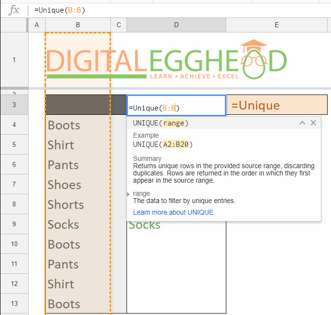 Google Sheets Tips - Remove Duplicate Items - 03 UNIQUE Function